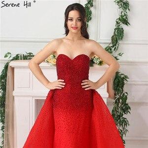 Image 5 - Dubaj Design Red całkowicie wyłożone kryształkami suknie wieczorowe Off Shoulder seksowna luksusowa suknia wieczorowa rozkloszowana na dole Serene Hill LA6637
