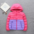 Winter models children 's clothes 2016  Korean version of children' s down jacket stitching light down stripped age from 2-9T