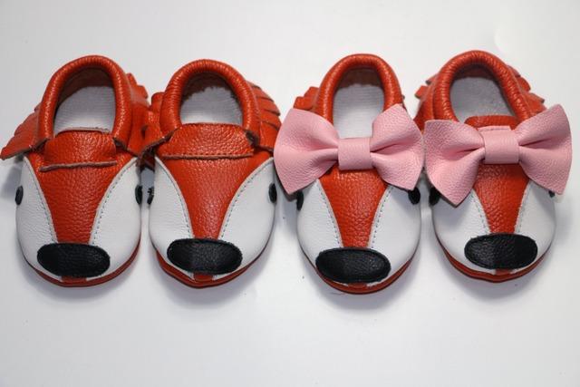 10 par/lote Nuevo arrivel alta calidad suave suela de Cuero Genuino fox animal Bebé Mocasines Zapatos de los niños antideslizantes Infantiles niño