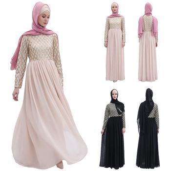 Abaya Women Sequin Chiffon Long Party Dress Muslim Jilbab Dubai Kaftan Gown Robe Islamic Clothing Pleated Draped Patchwork Dress