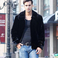 Imports of new winter fashion men's mink coat Haining Leather grass mink cashmere mink jacket lapel padded
