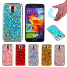 For Samsung S5 G900 Colored Shining Case Soft Silicone TPU Frame with Shiny Glitter Back Cover Case for Samsung Galaxy S5 G900f protective tpu pc bumper frame for samsung galaxy s5 mini green