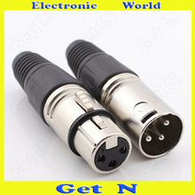 цена на 100pcs Neutrik 3-Pole Female/Male Cannon XLR Connector Plug for Microphone Cannon Connector with 3 Poles