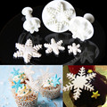 3Pcs/Set Snowflake Fondant Cake Dessert Decorating Tools Sugarcraft Plunger Cake Mold Halloween Christmas Cookies Biscuit Cutter