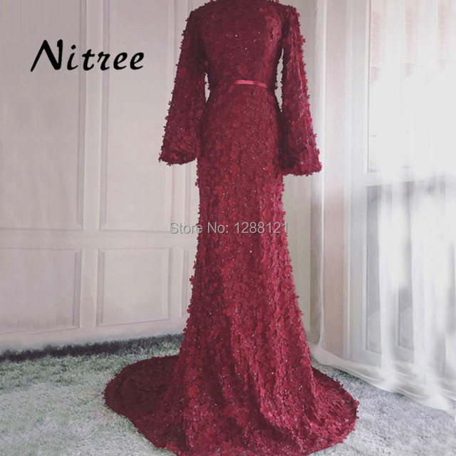 4c5a2afde4eb7 US $143.64 24% OFF|African Flower Muslim Mermaid Evening Dresses Dubai  Turkish Arabic Aibye Formal Long Party Dress Prom Gowns Abendkleider  Vestido-in ...