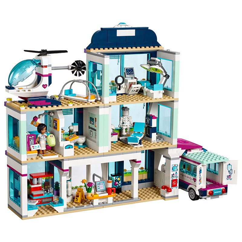 Lepin 01039 932PCS girl friend building blocks toy Heart Lake City Hospital compatible with 41318 lepin girls and children toy lepin 02012 city deepwater exploration vessel 60095 building blocks policeman toys children compatible with lego gift kid sets