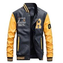 Nuevos hombres bordado de béisbol chaquetas abrigos Pu de cuero de imitación Slim Fit cremallera Casual College Luxury Brand Coat