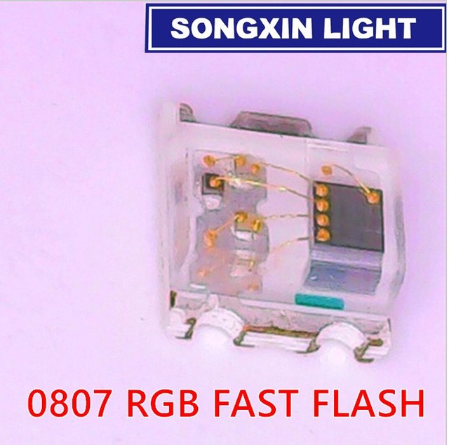 1000pcs Flashing LED SMD Diode 0805 RGB Diodo flash Alto Brilho Diod 0807 RGB Flash LED Color Changing fast slow flash