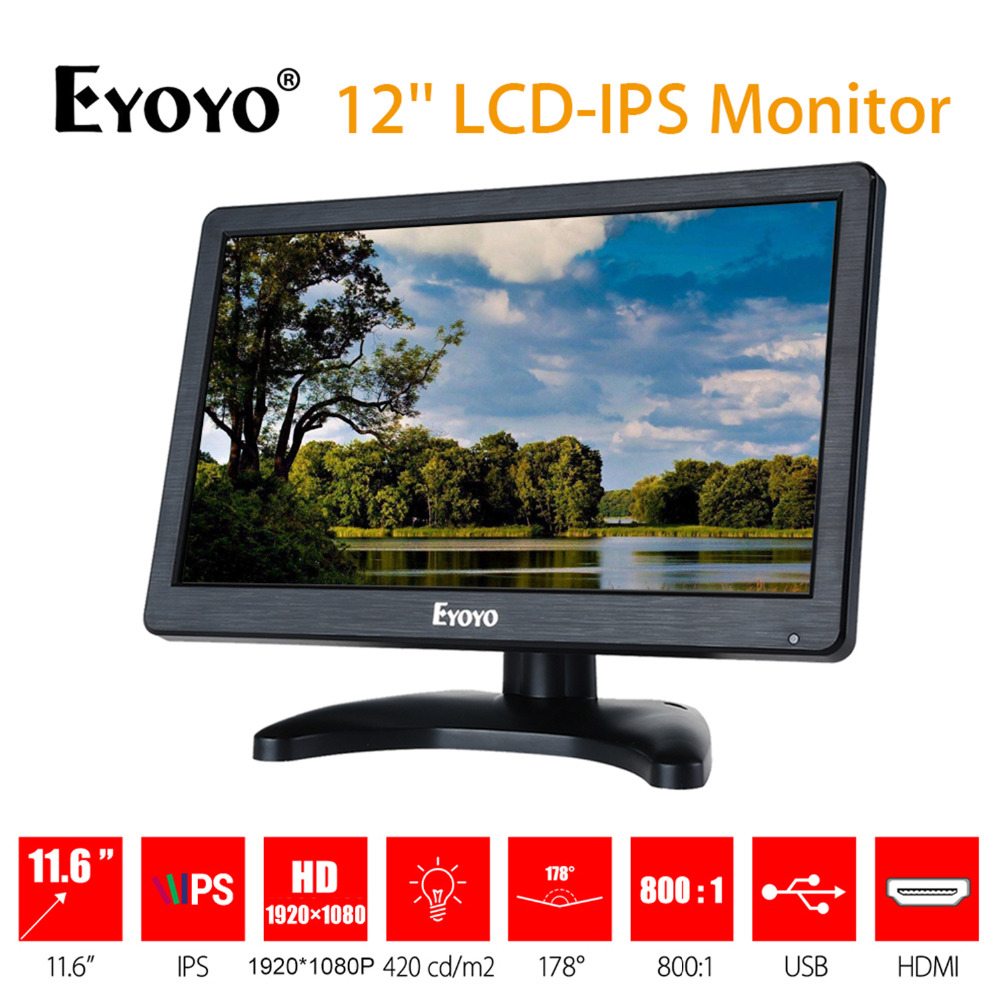 EYOYO EM12D 12 inch IPS LCD HD Video Audio Monitor 1920x1080 HDMI VGA BNC AV for PC Computer Camera DVD Security CCTV DVR цена и фото