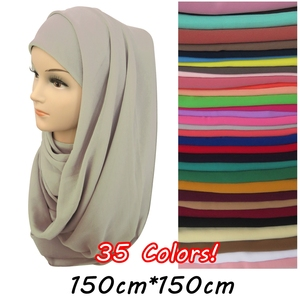 Image 1 - 150*150cm Square Bubble Chiffon Scarf Muslim Hijab Head Wrap Plain Solid Colors Large Size 10pcs/lot