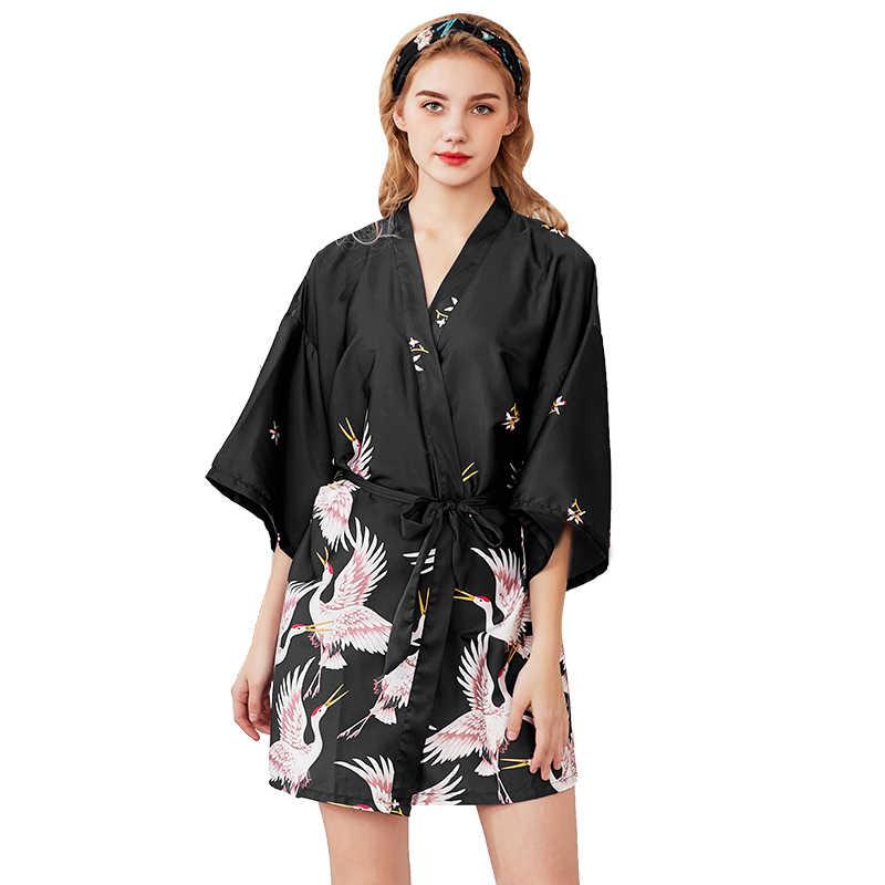 Women Loose Silk robe Wide Sleeves Kimonos Peignoir After bath Robe Gift for her Wedding Bridal Robe Bridesmaids Sleepwear Pajamas