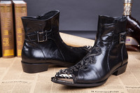 Новинка 2018 года; кожаные мужские Ботильоны; Мужская Клубная обувь с заклепками; модные мужские ковбойские ботинки; Новая брендовая мужская