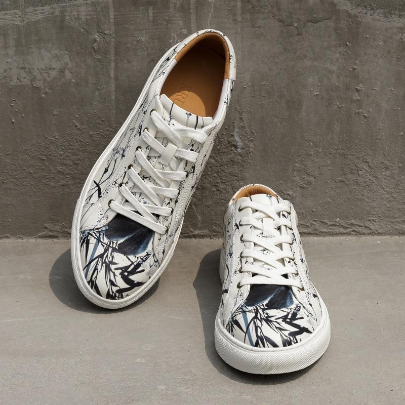 Tenis Hecha Moda De Impresión Costura White Adulto Alta A Genuino Mano Zapatillas Pisos Hombres Los Masculino Cuero Calidad Zapatos Zw0qvC