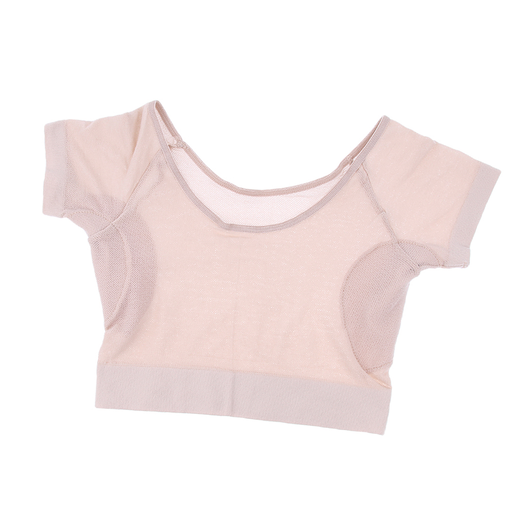 Short Shirt Sleeve With Underarm Sweat Pads Armpit Shield Absorbing Perspiration For Summer