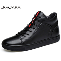 JUNJARM 100 Genuine Leather Men Ankle Boots Winter High Top Men Snow Boots Keep Warm Flats