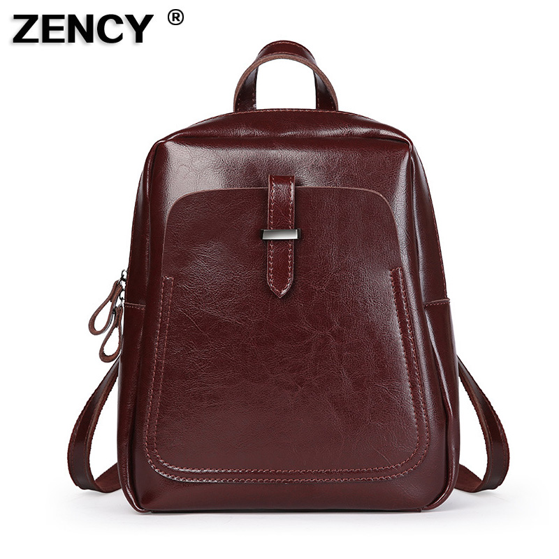 ZENCY Best Seller Classic Vintage Genuine Oil Wax Cowhide Cow Leather Women Girls Real Leather School