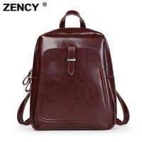 Bolso de hombro mochila escolar de cuero de vaca de cera de aceite genuino clásico mejor vendedor de ZENCY