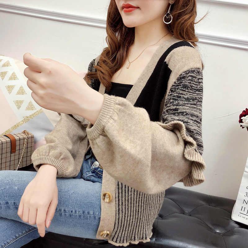 Осеннее платье 2019, новая Корейская версия, Вязанный свитер с рукавом в виде листьев лотоса, цветной подходящий жакет с зимней курткой