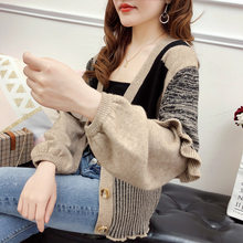 autumn dress 2019 new Korean version loose lotus leaf sleeve knitted sweater color matching jacket with winter jacket(China)