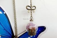 2014 New Glass Globe Necklace Wishing Bottle Pink Real Dried Flowers Glass Bottle Pendant Botanical Jewelry