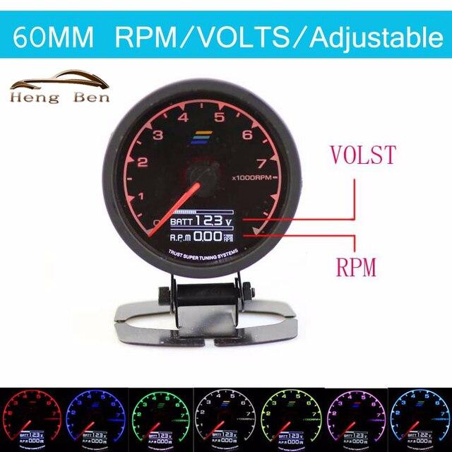 HB Новый 7-Color-in-1 60 мм Мульти D/ЖК-Дисплей Цифровой RPM Тахометр Датчик Дрейфующих Автомобиль Тахометр RPM Метр датчик