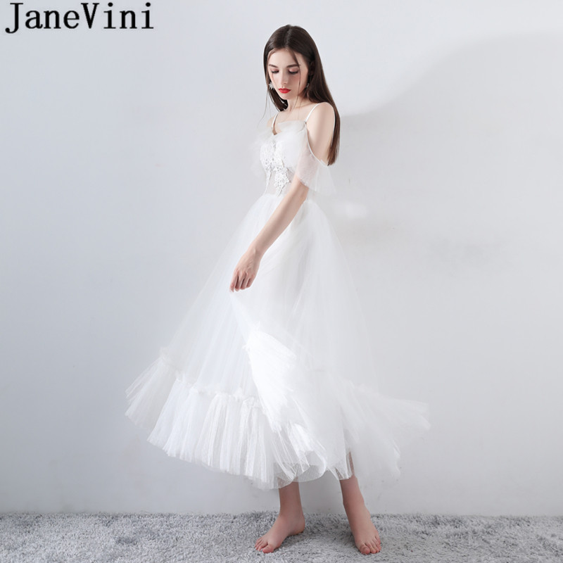 ef0004e9dba5 Mouse over to zoom in. JaneVini White Elegant Bridesmaid Dress for Wedding  Party Sexy Tea-Length Tulle Women Prom Formal ...