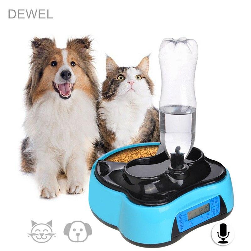 Pet-U Automatique Pet Alimentation Eau Feeder Avec Enregistrement Vocal et LCD Écran Humide/Sec Alimentaire Bols Pour chien Distributeurs 4 fois dans 1 Jour