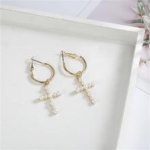 Charm cross imitation pearl drop dangle earrings women girls white elegant fashion female wedding party jewelry gift wholesale