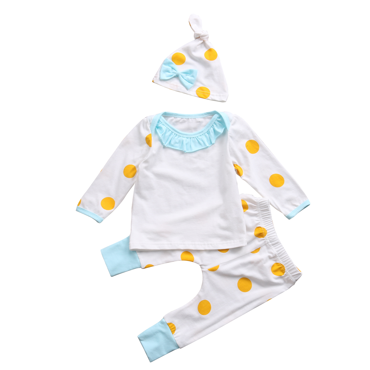 New Hot Sale Toddler Newborn Kids Baby Girls Outfits Clothes 3PCS Set Girl Dot Outfits Clothes