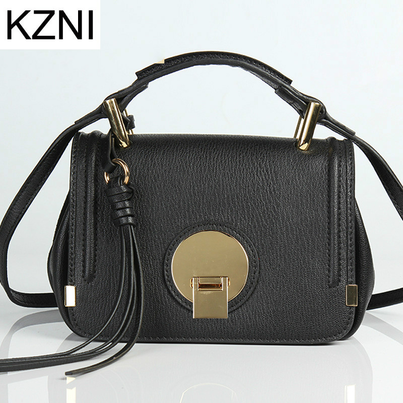 KZNI Genuine Leather Purse Crossbody Shoulder Women Bag Clutch Female Handbags Sac a Main Femme De Marque  L110620 hobos bags handbags women famous brand female high quality leather shoulder bag women crossbody bag sac a main femme de marque