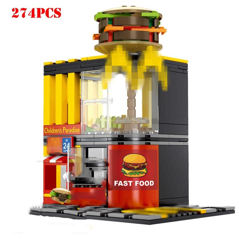 Street Hamburger Cafe Retail Convenience Store Architecture Building Blocks Compatible Legoed Technic City Street View Brick Toy 1