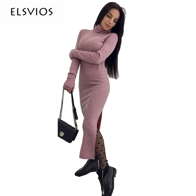 ELSVIOS 2017 Autumn winter Turtleneck sweater dress Women Fashion Warm Knitted Slim Fitness Ankle-Length long sleeve party Dress floor length pocket turtleneck long sleeve dress