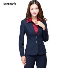 2018 Work wear women's pants suit autumn winter long-sleeve Two buttons blazer with Trousers ladies female set suits Navy black