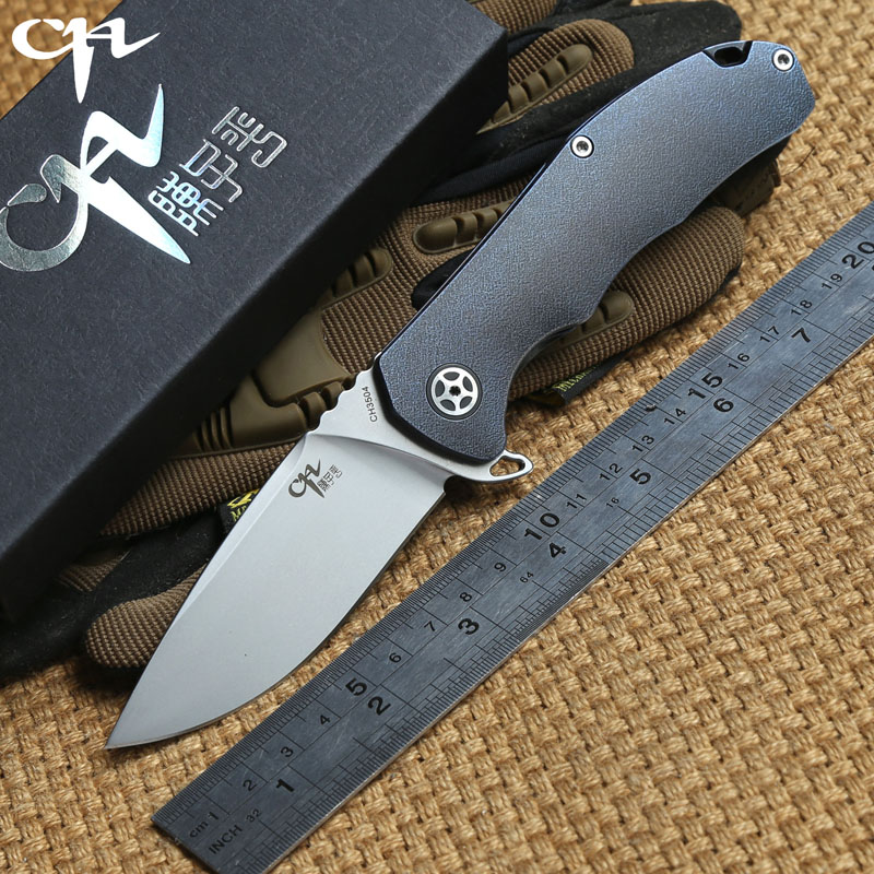 CH 3504 Folding knife Titanium handle S35VN blade Flipper Ceramic ball bearing Tactical hunt camping survival Knives EDC tools bear claw smf folding knife copper gaskets s35vn blade g10 titanium handle outdoor gear tactical camp hunt knives edc tools