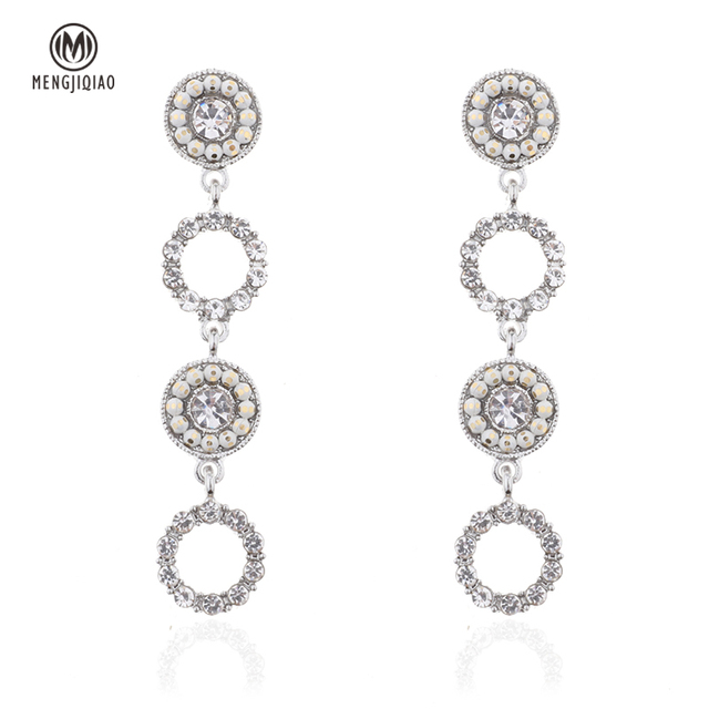 MENGJIQIAO 2018 New Korean Hot Style Shiny Rhinestone Circle Long Pendientes Mujer Moda Party Ear Accessories Temperament Brinco