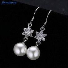 Модные украшения серьги, 925 серебряные серьги для женщин и девочек с натурального жемчуга, стильные серьги Серги из чистого серебра
