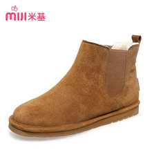 MiJi 2016 New Arrival Hot Sale Chelsea Boots Ankle Boots Ladies Leather Short Snow Boots Slip-on Soft Women Flats Shoes XD-91