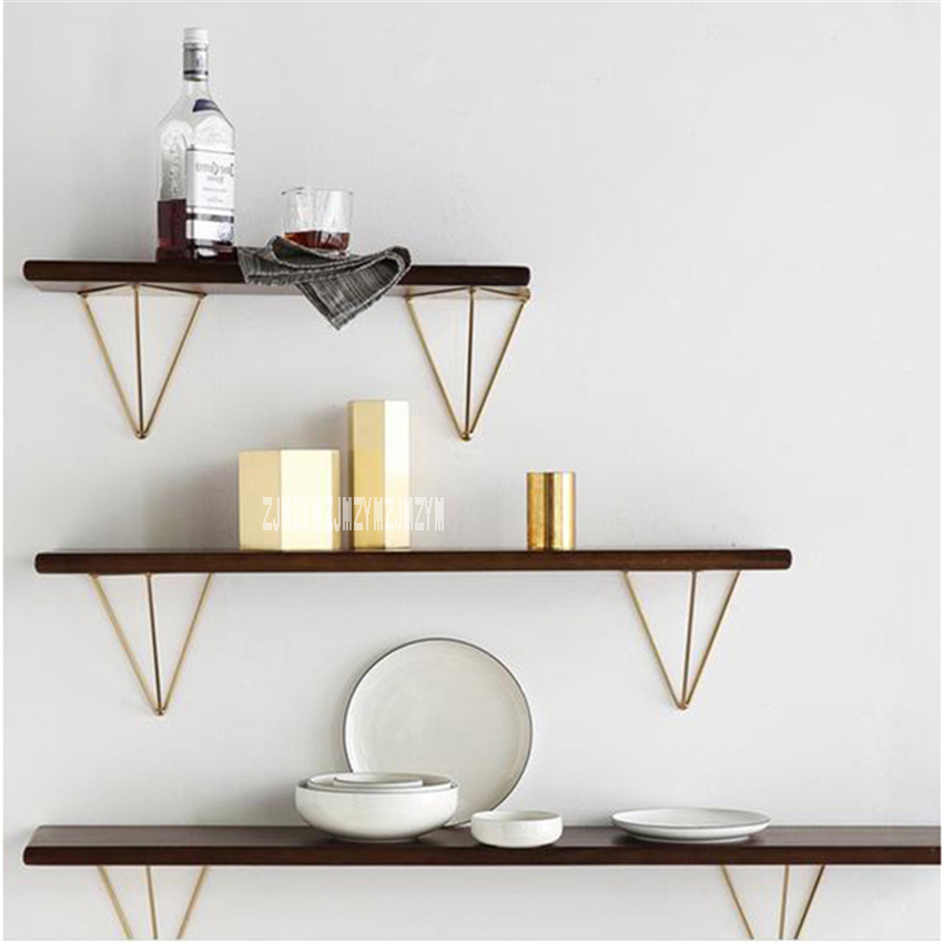 Creative Nordic Home Clapboard Rack Modern Loft Design Decorating Metal Solid Wooden Shelf Wall Hanging Storage Holders Racks