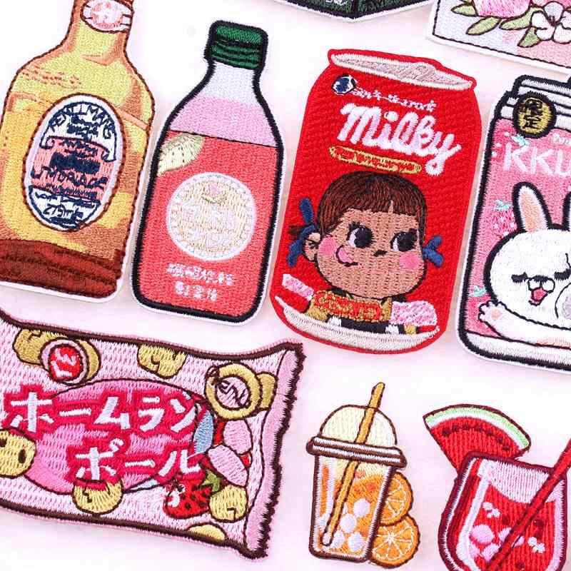 Prajna Stile Giapponese Toppe E Stemmi Bottiglia Del Fumetto Iron on Ricamato Toppe E Stemmi Sui Vestiti di Applique per I Bambini T-Shirt Giacca Decor Fai da Te