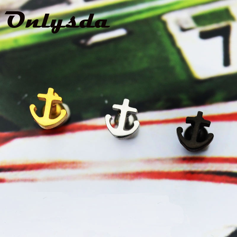 316L Stainless Steel Stud Earrings for Men Viking Anchor Man Earring Fashion Male Jewelry Birthday Gifts for Boyfriend ES083