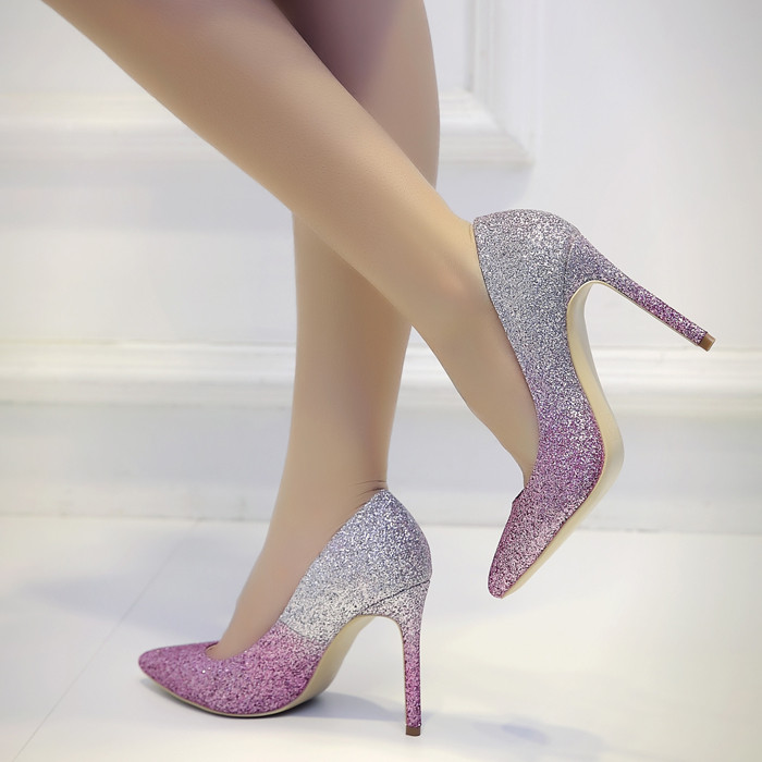 New Arrival Spring Autumn Double Color Gradient Sequins Pointed Toe High Heels Shoes Fine With Sexy Women Pumps Party Shoes spring autumn sexy nightclub women pumps shallow mouth pointed side hollow stone pattern 10 cm fine high heels shoes