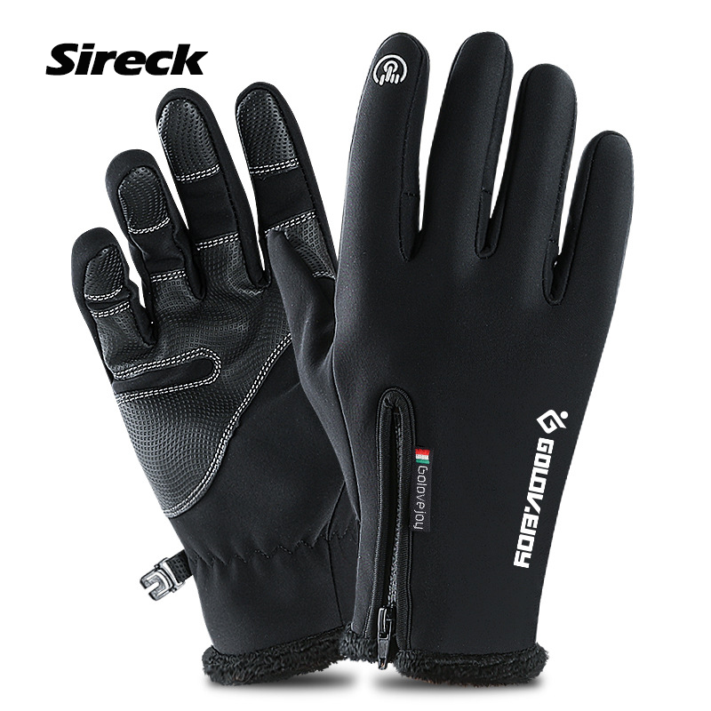 Sireck Winter Sport Cycling Gloves Full Finger Fleece Thermal Ski Road Mountain Bike Gloves Touchscreen Bicycle Gloves Mittens