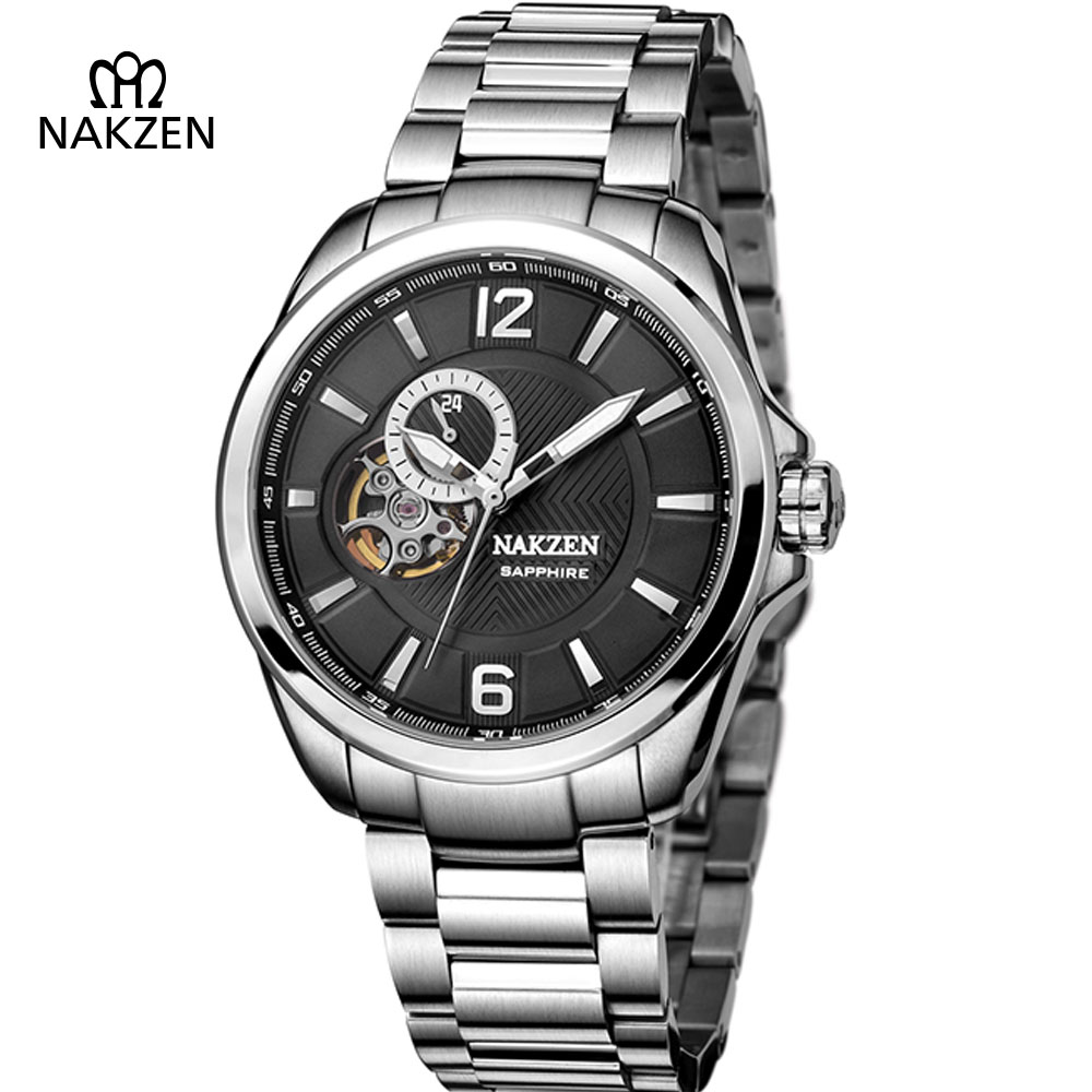 NAKZEN Gents Skeleton Automatic Watch Men Luxury Fashion Business Mechanical Clock Man Sapphire Vintage Watches Horloges Mannen nakzen men s automatic waterproof 50m watch man steel business dress mechanical clock male luxury sapphire diamond fashion watch