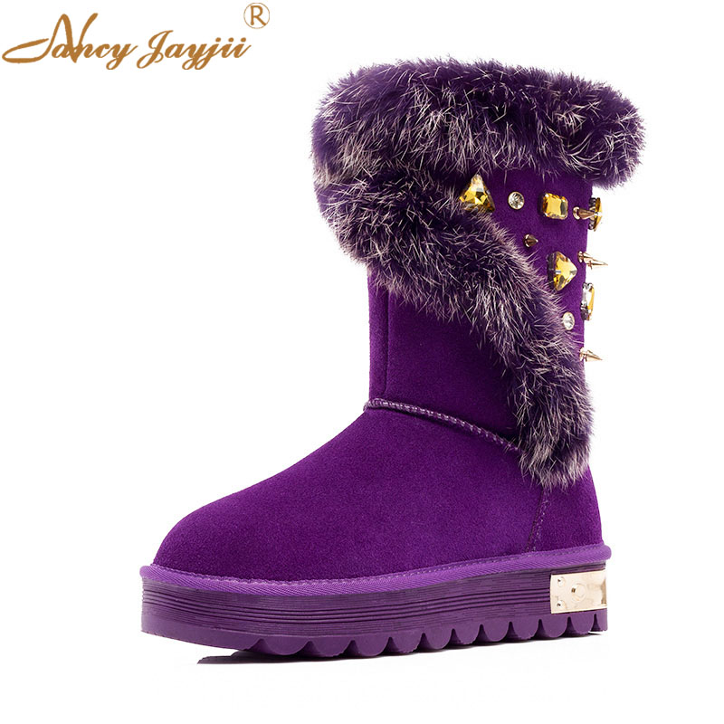 Fashion Purple MutliColor Womens Crystal Plush Ankle Boots Round Toe Flat Heel Booties Plush Lining Snow Outdoor Shoes Woman 45