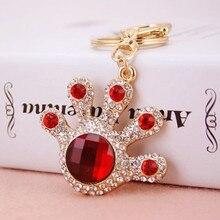 Novelty Rhinestone Hand Metal Key Chains Rings Holder Crystal Palm Keychain Keyring Bag Charm Pendant Gift Fashion Jewelry