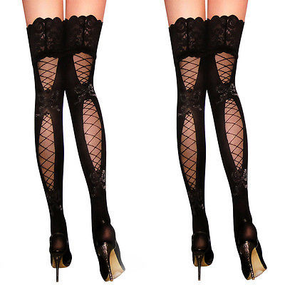 Lace Top Sheer Thigh High Silk Stockings