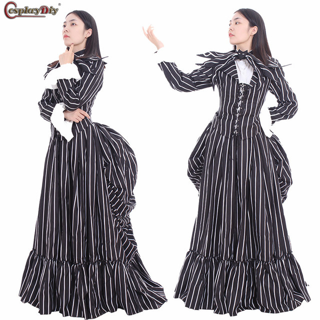 movie the nightmare before christmas jack skellington cosplay halloween costume for adult women medieval vintage dress - Nightmare Before Christmas Halloween Costume