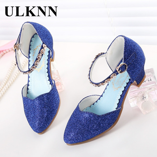 ULKNN Princess Girls Sandals Kids Shoes For Girls Dress Shoes Little High Heel Glitter Summer Party Wedding Sandal Children Shoe 2