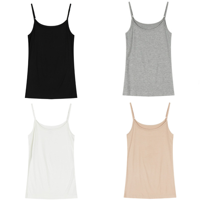 2019 Women Summer Solid Color Basic Vest Slim Fit   Tank     Top   Sleeveless Strappy Lady Homewear Casual Female   Tops   Shirts
