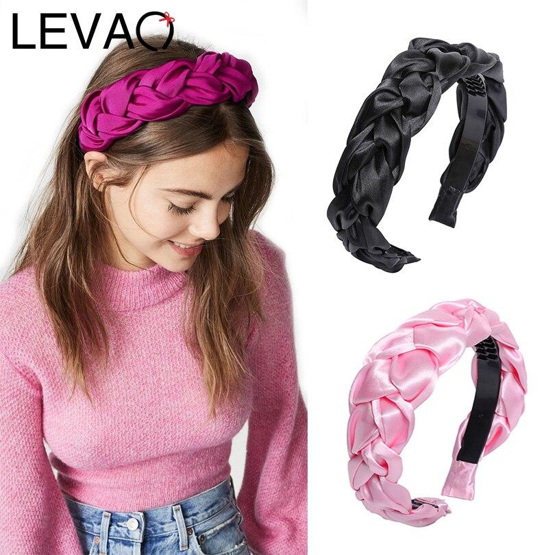 LEVAO Western Style Silk Hair Ornaments Twist Wide Size Hairbands Bezel Turban Women Padded Headbands Girls Accessories   Headwear
